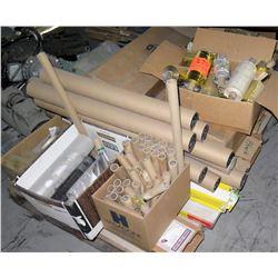 Pallet Cardboard Paper Rolls, Shrink Wrap, Gold Foil Rolls, etc