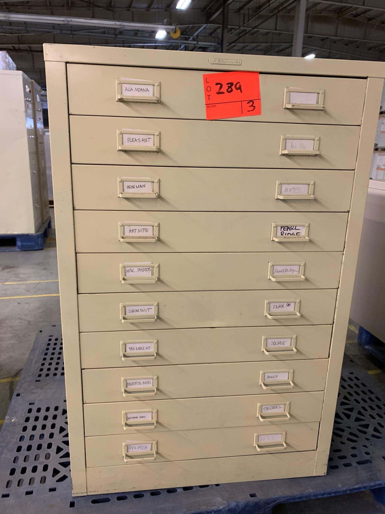 Metal 5-Drawer Blueprint File Cabinet, 2-Door Lateral File Cabinet