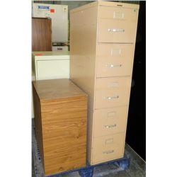 Metal 4 Drawer Standing File Cabinet & Pressed Wood Cabinet
