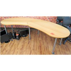 Curved Wood Shop Wooden Table w/ Metal Legs 2 Pieces