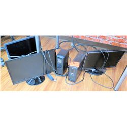 Qty 3 Computer Monitors - Dell, Samsung, etc & Cyber Power Tower