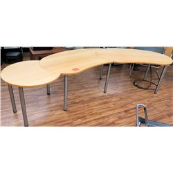 Curved Wood Shop Wooden Table w/ Metal Legs 3 Sections
