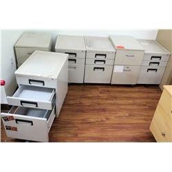 Qty 6 Rolling 3 Drawer File Cabinet Set on Wheels