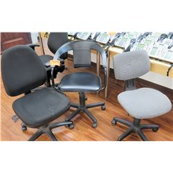 Qty 3 Misc Rolling Office Task Chairs - 2 w/ No Arm Rests