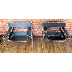 Qty 2 Leather Like Chairs w/ Metal Frames