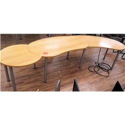 Curved Wood Conference Wooden Table w/ Metal Legs 3 Sections