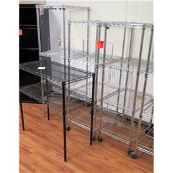 Qty 5 Wire Shelving Units (3 Rolling, 2 Stationary)