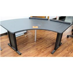 Curved Wood Shop Office Wooden Table Black