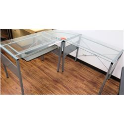 "Metal ""L"" Shape Desk Table w/ Glass Top"
