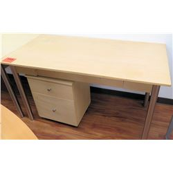 Metal-Based Laminate Shop Office Wooden Table w/ Rolling File Cabinet