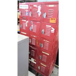Red Metal 15 Locker Storage Unit