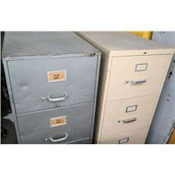 Qty 2 Misc File Cabinets w/ Yellow Metal Liquid Containers