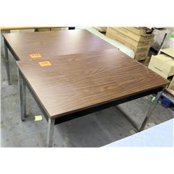 Qty 2 Tables w/ Metal Legs & Pressed Wood Table Tops
