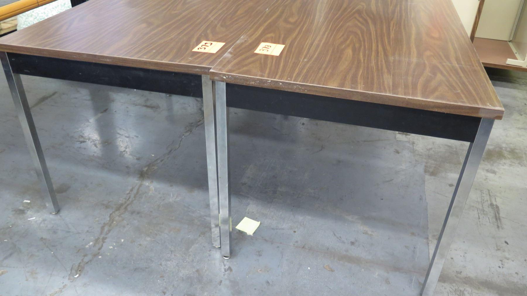 Qty 2 Tables w/ Metal Legs & Pressed Wood Table Tops - Oahu