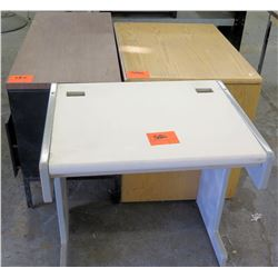 Qty 3 Misc Furniture - Metal & Wood Desk, Cabinet, Plastic Table