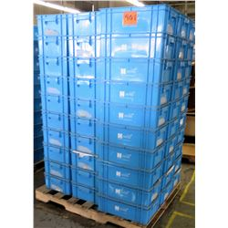 Qty 1 Tall Pallet of Blue Plastic Square Stackable Hagadone Bins Containers