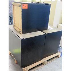 Qty 3 Black Press Wood Containers Cabinets Receptacles