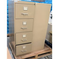 Qty 2 Metal 4 Drawer Standing Beige File Cabinets