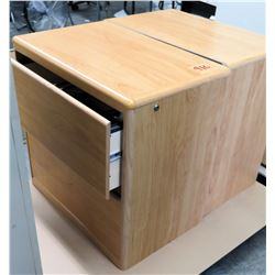 Qty 2 Wooden 2 Drawer Standing Wood File Cabinets