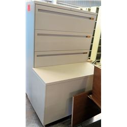 Qty 1 Metal 3 Drawer Lateral Legal Beige File Cabinet w/ Short White Cabinet