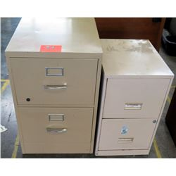 Qty 2 Metal 2 Drawer Standing Beige File Cabinets