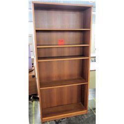 Wooden 5 Shelf Display Book Case Adjustable Shelves
