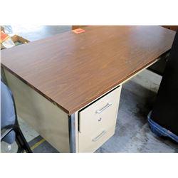 Metal Shop Desk with 2 Drawers & Laminate Wood Top