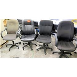 Qty 4 Misc Wheeled Rolling Office Executive Chairs - Leather & Fabric