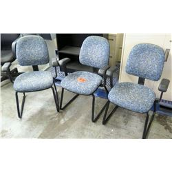 Qty 3 Stationary Office Chairs w/ Armrests & Floral Upholstery