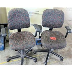 Qty 2 Wheeled Rolling Office Chairs w/ Armrests & Floral Upholstery