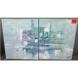 2 Piece Abstract Art Painting Signed by Artist