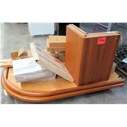 Oval Wooden Folding Table w/ Misc Accessories