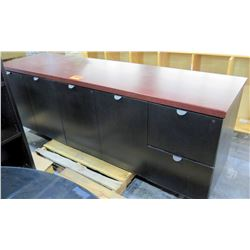 Metal w/ Wood Laminate 6 Compartment Recycle Cabinet System
