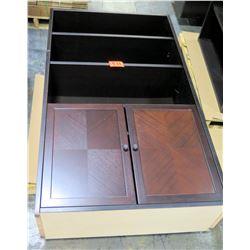Wooden 3 Shelf Display Case Adjustable Shelves & 2 Bottom Cabinets w/ Doors