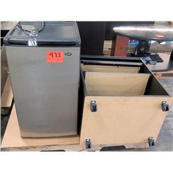 Sanyo Mini Refrigerator & Pressed Wood Rolling Shelf