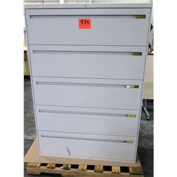 Qty 1 Metal 5 Drawer Lateral Legal Beige File Cabinet