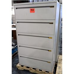 Qty 2 Metal 5 Drawer Lateral Legal Beige File Cabinets
