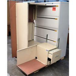 Metal 5 Drawer Lateral Legal File Cabinet, Wood Shelf & Metal Shop Desk
