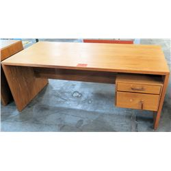 Wooden Rectangle Executive Desk w/ Drawer & File Cabinet