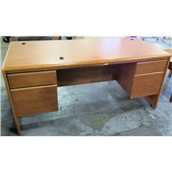 Wooden Rectangle Executive Desk w/ 2 Drawers & 2 File Drawers