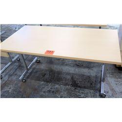 Rolling Metal Table w/ Laminate Top