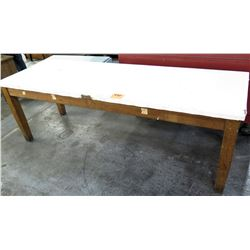 Large Wooden Shop Work Table w/ White Top