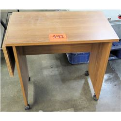 Wooden Student Wheeled Rolling Desk w/ Extendable Leaf