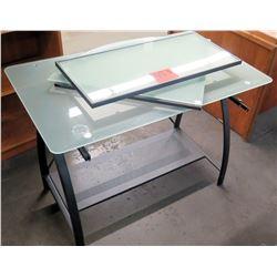 Metal & Glass Drafting Table w/ 2 Leaves
