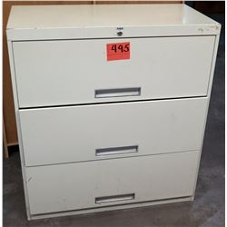 Qty 1 Metal 3 Drawer Lateral Legal Beige File Cabinet