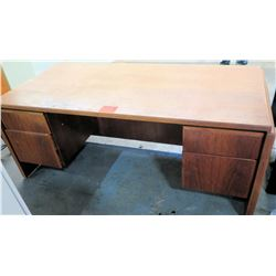 Wooden Rectangle Executive Desk w/ 2 Drawers & 2 File Cabinet Drawers