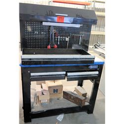 Black Kobalt Shop Work Table w/ Pegboard Panel Tool Storage