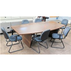 Oval Wooden Conference Table w/ 6 Stationary Chairs w/ Armrests