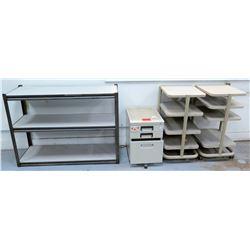 Qty 4 Misc Shelves - Black 2 Shelf Unit, File Cabinet & 2 Wall Flush Shelves