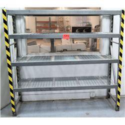 Metal 4 Tier Shop Work Shelf w/ Yellow Safety Tape